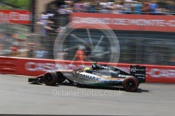 World © Octane Photographic Ltd. Sahara Force India VJM09 - Sergio Perez. Saturday 28th May 2016, F1 Monaco GP Qualifying, Monaco, Monte Carlo. Digital Ref : 1569CB7D2326