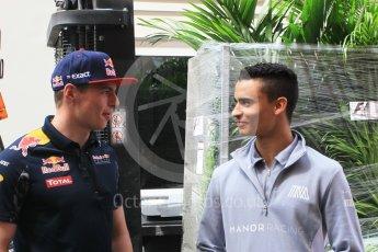 World © Octane Photographic Ltd. Red Bull Racing RB12 – Max Verstappen and Manor Racing MRT05 - Pascal Wehrlein. Wednesday 25th May 2016, F1 Monaco GP Paddock, Monaco, Monte Carlo. Digital Ref :1559CB1D6488