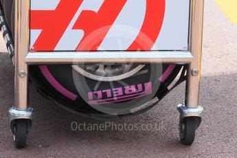 World © Octane Photographic Ltd. Haas F1 Team and Pirelli Ulrasoft tyres. Wednesday 25th May 2016, F1 Monaco GP Paddock, Monaco, Monte Carlo. Digital Ref :1559CB7D0020