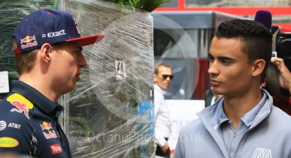 World © Octane Photographic Ltd. Red Bull Racing RB12 – Max Verstappen and Manor Racing MRT05 - Pascal Wehrlein. Wednesday 25th May 2016, F1 Monaco GP Paddock, Monaco, Monte Carlo. Digital Ref :1559CB7D0063
