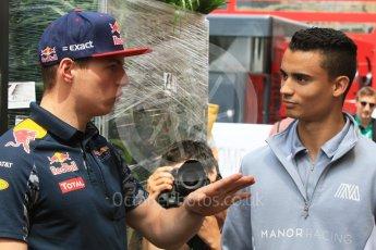 World © Octane Photographic Ltd. Red Bull Racing RB12 – Max Verstappen and Manor Racing MRT05 - Pascal Wehrlein. Wednesday 25th May 2016, F1 Monaco GP Paddock, Monaco, Monte Carlo. Digital Ref :1559CB7D0099