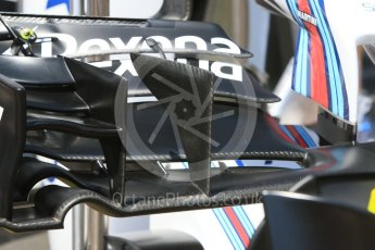 World © Octane Photographic Ltd. Williams Martini Racing, Williams Mercedes FW38 – front wing. Wednesday 25th May 2016, F1 Monaco GP Paddock, Monaco, Monte Carlo. Digital Ref :1559CB7D9829