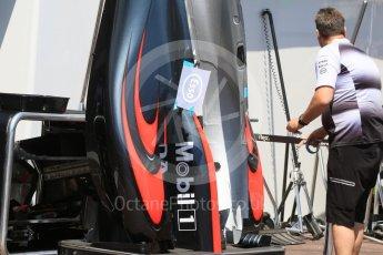 World © Octane Photographic Ltd. McLaren Honda MP4-31 – sidepods. Wednesday 25th May 2016, F1 Monaco GP Paddock, Monaco, Monte Carlo. Digital Ref :1559CB7D9920