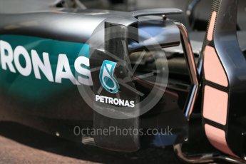 World © Octane Photographic Ltd. Mercedes AMG Petronas W07 Hybrid – sidepod. Wednesday 25th May 2016, F1 Monaco GP Paddock, Monaco, Monte Carlo. Digital Ref :1559LB1D4130