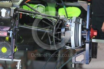World © Octane Photographic Ltd. Sahara Force India VJM09 - front suspension and brakes. Wednesday 25th May 2016, F1 Monaco GP Paddock, Monaco, Monte Carlo. Digital Ref :1559LB1D4236