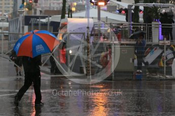 World © Octane Photographic Ltd. Rain in the F1 Monaco Paddock. Sunday 29th May 2016, F1 Monaco GP Paddock, Monaco, Monte Carlo. Digital Ref : 1572LB1D0987