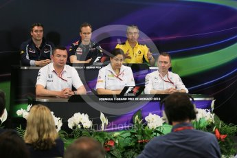 World © Octane Photographic Ltd. F1 Monaco GP FIA Team Personnel Press Conference, Monaco, Monte Carlo, Thursday 26th May 2016. McLaren Honda Racing Director – Eric Boullier, Renault Sport F1 Team Chassis Technical Director – Nick Chester, Sauber F1 Team Principal - Monisha Kaltenborn, Scuderia Toro Rosso Technical Director - James Key, Mercedes AMG Petronas Executive Director (Technical) - Paddy Lowe and Red Bull Racing Chief Engineer (Car Engineering) - Paul Monaghan. Digital Ref : 1563LB5D7907