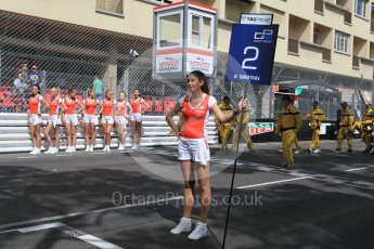 World © Octane Photographic Ltd. ART Grand Prix - GP2/11 – Sergey Sirotkin's TAG Heuer grid girl. Friday 27th May 2016, GP2 Race 1, Monaco, Monte Carlo. Digital Ref :1566CB1D7688