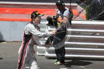 World © Octane Photographic Ltd. Russian Time – Artem Markelov celebrating his win. Friday 27th May 2016, GP2 Race 1 podium, Monaco, Monte Carlo. Digital Ref :1566CB1D8826
