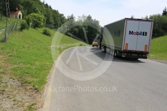 World © Octane Photographic Ltd. West loop of the old Osterreichring circuit - The old Dr.Tiroch Kurve now used as a truck park. Thursday 30th June 2016, F1 Austrian GP, Red Bull Ring, Spielberg, Austria. Digital Ref : 1597CB5D2464