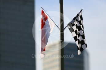World © Octane Photographic Ltd. Singapore skyline with Race and National flags. Friday 16th September 2016, F1 Singapore GP Practice 1, Marina Bay Circuit, Singapore. Digital Ref :