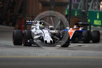 World © Octane Photographic Ltd. Williams Martini Racing, Williams Mercedes FW38 – Felipe Massa and Manor Racing MRT05 - Pascal Wehrlein. Friday 16th September 2016, F1 Singapore GP Practice 1, Marina Bay Circuit, Singapore. Digital Ref : 1716LB1D9865