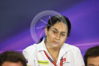 World © Octane Photographic Ltd. F1 Singapore GP FIA Personnel Press Conference, Marina Bay Circuit, Singapore. Friday 16th September 2016. Monisha Kaltenborn – Team Principal Sauber F1 Team. Digital Ref : 1718LB1D0198