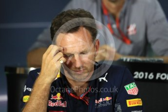 World © Octane Photographic Ltd. F1 Singapore GP FIA Personnel Press Conference, Marina Bay Circuit, Singapore. Friday 16th September 2016. Christian Horner – Team Principal Red Bull Racing. Digital Ref : 1718LB1D0236