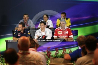 World © Octane Photographic Ltd. F1 Singapore GP FIA Personnel Press Conference, Marina Bay Circuit, Singapore. Friday 16th September 2016. Cyril Abiteboul – Managing Director Renault Sport F1 Team, Maurizio Arrivabene – Team Principal Scuderia Ferrari, Christian Horner – Team Principal Red Bull Racing, Monisha Kaltenborn – Team Principal Sauber F1 Team, Guenther Steiner – Team Principal Haas F1 Team and Toto Wolff – Executive Director Mercedes AMG Petronas. Digital Ref : 1718LB2D9975