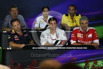 World © Octane Photographic Ltd. F1 Singapore GP FIA Personnel Press Conference, Marina Bay Circuit, Singapore. Friday 16th September 2016. Cyril Abiteboul – Managing Director Renault Sport F1 Team, Maurizio Arrivabene – Team Principal Scuderia Ferrari, Christian Horner – Team Principal Red Bull Racing, Monisha Kaltenborn – Team Principal Sauber F1 Team, Guenther Steiner – Team Principal Haas F1 Team and Toto Wolff – Executive Director Mercedes AMG Petronas. Digital Ref : 1718LB2D9983
