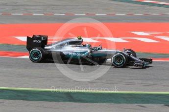 World © Octane Photographic Ltd. Mercedes AMG Petronas W07 Hybrid – Nico Rosberg. Friday 13th May 2016, F1 Spanish GP - Practice 2, Circuit de Barcelona Catalunya, Spain. Digital Ref : 1539CB1D8224