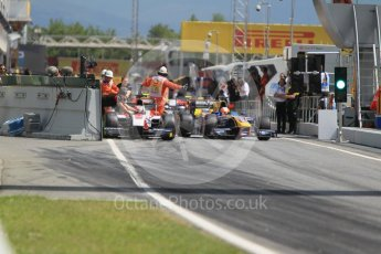 World © Octane Photographic Ltd. ART Grand Prix - GP2/11 – Nobuharu Matsushita stalls at the front of the line up to leave the pits causing a short delay in action. Friday 13th May 2016, GP2 Practice, Circuit de Barcelona Catalunya, Spain. Digital Ref :1538CB1D7936