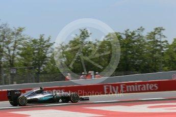 World © Octane Photographic Ltd. Mercedes AMG Petronas W07 Hybrid – Nico Rosberg. Saturday 14th May 2016, F1 Spanish GP - Qualifying, Circuit de Barcelona Catalunya, Spain. Digital Ref : 1546LB1D6834