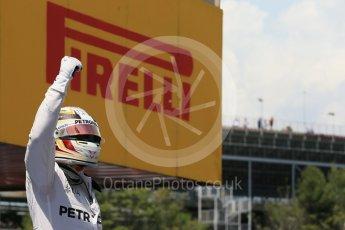 World © Octane Photographic Ltd. Mercedes AMG Petronas W07 Hybrid – Lewis Hamilton. Saturday 14th May 2016, F1 Spanish GP - Qualifying, Circuit de Barcelona Catalunya, Spain. Digital Ref : 1546LB1D7045