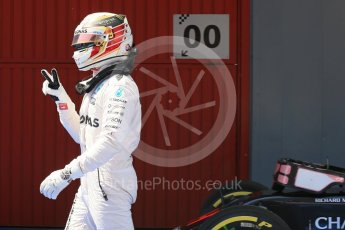 World © Octane Photographic Ltd. Mercedes AMG Petronas W07 Hybrid – Lewis Hamilton. Saturday 14th May 2016, F1 Spanish GP - Qualifying, Circuit de Barcelona Catalunya, Spain. Digital Ref : 1546LB1D7063
