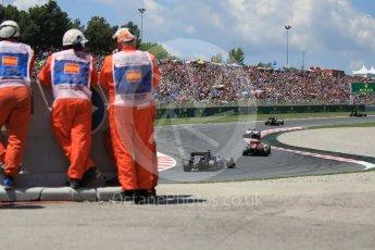World © Octane Photographic Ltd. The pack in turns 7 and 8. Sunday 15th May 2016, F1 Spanish GP Race, Circuit de Barcelona Catalunya, Spain. Digital Ref :