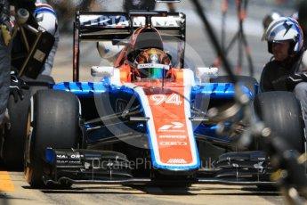 World © Octane Photographic Ltd. Manor Racing MRT05 - Pascal Wehrlein pitstop. Sunday 15th May 2016, F1 Spanish GP Race, Circuit de Barcelona Catalunya, Spain. Digital Ref :