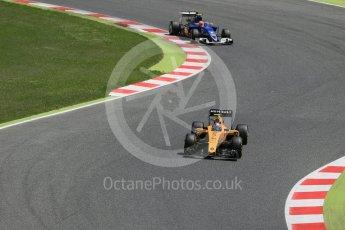 World © Octane Photographic Ltd. Renault Sport F1 Team RS16 – Jolyon Palmer and Sauber F1 Team C35 – Felipe Nasr. Sunday 15th May 2016, F1 Spanish GP Race, Circuit de Barcelona Catalunya, Spain. Digital Ref :