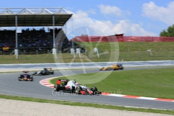 World © Octane Photographic Ltd. Haas F1 Team VF-16 – Romain Grosjean. Sunday 15th May 2016, F1 Spanish GP Race, Circuit de Barcelona Catalunya, Spain. Digital Ref :