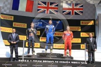 World © Octane Photographic Ltd. DAMS – Alex Lynn (1st), Prema Racing Pierre Gasly (2nd) and Racing Engineering – Jordan King (3rd). Sunday 15th May 2016, GP2 Race 2, Circuit de Barcelona Catalunya, Spain. Digital Ref :1551CB1D1067