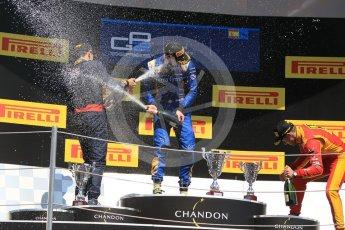 World © Octane Photographic Ltd. DAMS – Alex Lynn (1st), Prema Racing Pierre Gasly (2nd) and Racing Engineering – Jordan King (3rd). Sunday 15th May 2016, GP2 Race 2, Circuit de Barcelona Catalunya, Spain. Digital Ref :1551CB1D1170