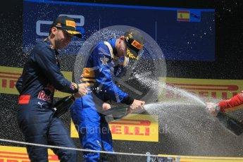 World © Octane Photographic Ltd. DAMS – Alex Lynn (1st), Prema Racing Pierre Gasly (2nd) and Racing Engineering – Jordan King (3rd). Sunday 15th May 2016, GP2 Race 2, Circuit de Barcelona Catalunya, Spain. Digital Ref :1551CB1D1177