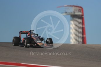 World © Octane Photographic Ltd. Scuderia Toro Rosso STR11 with Halo – Daniil Kvyat. Friday 21st October 2016, F1 USA Grand Prix Practice 1, Austin, Texas – Circuit of the Americas (COTA). Digital Ref :1742LB1D0218