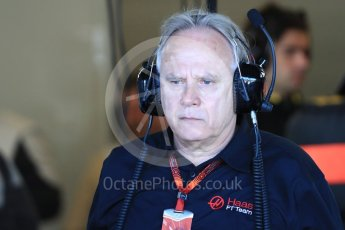 World © Octane Photographic Ltd. Haas F1 Team - Gene Haas. Saturday 22nd October 2016, F1 USA Grand Prix Practice 3, Austin, Texas – Circuit of the Americas (COTA). Digital Ref :1745LB1D1613