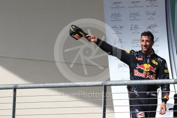 World © Octane Photographic Ltd. Red Bull Racing RB12 – Daniel Ricciardo (3rd). Sunday 23rd October 2016, F1 USA Grand Prix Podium, Austin, Texas – Circuit of the Americas (COTA). Digital Ref : 1750LB1D4180
