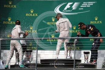 World © Octane Photographic Ltd. Mercedes AMG Petronas – Lewis Hamilton (1st) and Nico Rosberg (2nd) and Red Bull Racing – Daniel Ricciardo (3rd). Sunday 23rd October 2016, F1 USA Grand Prix Podium, Austin, Texas – Circuit of the Americas (COTA). Digital Ref :1750LB1D4430