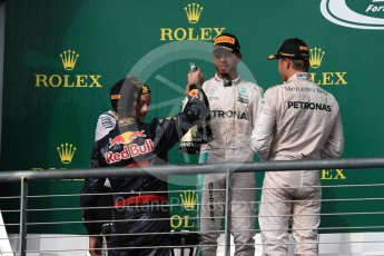 World © Octane Photographic Ltd. Mercedes AMG Petronas – Lewis Hamilton (1st) and Nico Rosberg (2nd) and Red Bull Racing – Daniel Ricciardo (3rd) with Victoria Vowels - Mercedes Partner Services Director. Sunday 23rd October 2016, F1 USA Grand Prix Podium, Austin, Texas – Circuit of the Americas (COTA). Digital Ref :1750LB1D4541