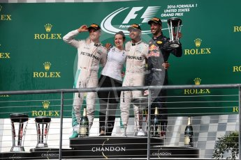 World © Octane Photographic Ltd. Mercedes AMG Petronas – Lewis Hamilton (1st) and Nico Rosberg (2nd) and Red Bull Racing – Daniel Ricciardo (3rd) with Victoria Vowels - Mercedes Partner Services Director. Sunday 23rd October 2016, F1 USA Grand Prix Podium, Austin, Texas – Circuit of the Americas (COTA). Digital Ref :1750LB1D4586