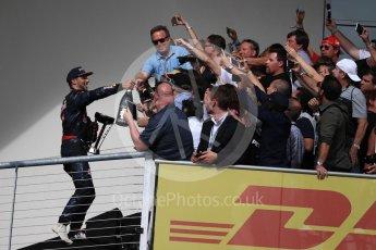 World © Octane Photographic Ltd. Red Bull Racing RB12 – Daniel Ricciardo (3rd). Sunday 23rd October 2016, F1 USA Grand Prix Podium, Austin, Texas – Circuit of the Americas (COTA). Digital Ref :1750LB1D4798