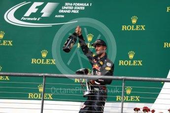 World © Octane Photographic Ltd. Red Bull Racing RB12 – Daniel Ricciardo (3rd). Sunday 23rd October 2016, F1 USA Grand Prix Podium, Austin, Texas – Circuit of the Americas (COTA). Digital Ref :1750LB1D4826