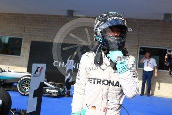 World © Octane Photographic Ltd. Mercedes AMG Petronas W07 Hybrid – Nico Rosberg (2nd). Sunday 23rd October 2016, F1 USA Grand Prix Parc Ferme, Austin, Texas – Circuit of the Americas (COTA). Digital Ref :1750LB2D6003