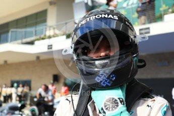 World © Octane Photographic Ltd. Mercedes AMG Petronas W07 Hybrid – Nico Rosberg (2nd). Sunday 23rd October 2016, F1 USA Grand Prix Parc Ferme, Austin, Texas – Circuit of the Americas (COTA). Digital Ref :1750LB2D6012