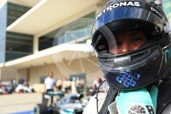 World © Octane Photographic Ltd. Mercedes AMG Petronas W07 Hybrid – Nico Rosberg (2nd). Sunday 23rd October 2016, F1 USA Grand Prix Parc Ferme, Austin, Texas – Circuit of the Americas (COTA). Digital Ref :1750LB2D6014