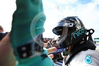 World © Octane Photographic Ltd. Mercedes AMG Petronas W07 Hybrid – Nico Rosberg (2nd). Sunday 23rd October 2016, F1 USA Grand Prix Parc Ferme, Austin, Texas – Circuit of the Americas (COTA). Digital Ref :1750LB2D6020