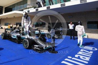 World © Octane Photographic Ltd. Mercedes AMG Petronas – Lewis Hamilton (1st) and Nico Rosberg (2nd). Sunday 23rd October 2016, F1 USA Grand Prix Parc Ferme, Austin, Texas – Circuit of the Americas (COTA). Digital Ref :1750LB2D6063