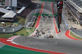 World © Octane Photographic Ltd. Mercedes AMG Petronas W07 Hybrid – Lewis Hamilton leads into turn 1. Sunday 23rd October 2016, F1 USA Grand Prix Race, Austin, Texas – Circuit of the Americas (COTA). Digital Ref :1749LB1D3585