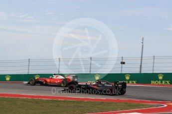 World © Octane Photographic Ltd. Scuderia Ferrari SF16-H – Kimi Raikkonen and McLaren Honda MP4-31 – Jenson Button. Sunday 23rd October 2016, F1 USA Grand Prix Race, Austin, Texas – Circuit of the Americas (COTA). Digital Ref : 1749LB1D4029