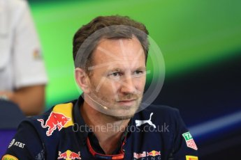 World © Octane Photographic Ltd. F1 USA Grand Prix Practice 2, Austin Texas – Circuit of the Americas (COTA) FIA Personnel Press Conference. Friday 21st October 2016. Christian Horner - Red Bull Racing Team Principal. Digital Ref :1744LB1D1416