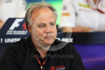World © Octane Photographic Ltd. F1 USA Grand Prix Practice 2, Austin Texas – Circuit of the Americas (COTA) FIA Personnel Press Conference. Friday 21st October 2016. Gene Haas - Haas F1 Team Owner. Digital Ref :1744LB1D1466