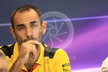 World © Octane Photographic Ltd. F1 USA Grand Prix Practice 2, Austin Texas – Circuit of the Americas (COTA) FIA Personnel Press Conference. Friday 21st October 2016. Cyril Abiteboul - Renault Sport F1 Team Managing Director. Digital Ref :1744LB1D1566